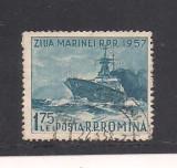 No(03)timbre-Romania 1957-L.P.435- Ziua Marinei-serie stampilata