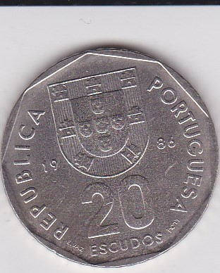 PORTUGALIA 20 ESCUDOS 1986 KM# 634.1 foto