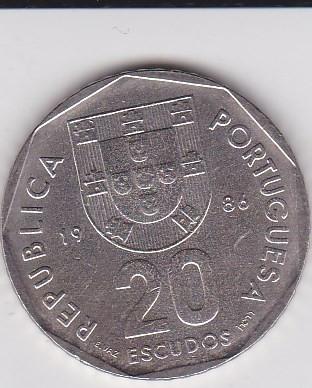 PORTUGALIA 20 ESCUDOS 1986 KM# 634.1 foto mare