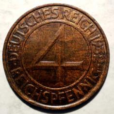 E.401 GERMANIA WEIMAR 4 REICHSPFENNIG 1932 A XF, Europa, Bronz
