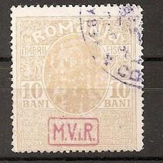 SD Romania 1917 - Posta militara germana-Timbre fiscale cu supr. MViR in caseta- 11a- 10 Bani brun galben