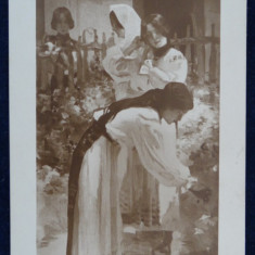 Vedere-Pictura-Reproduceri-H. Strambulescu-Fete in gradina-Circulata Interbelica