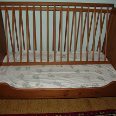 Patut din lemn + saltea - Patut lemn pentru bebelusi, 120x60cm, Maro