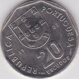 PORTUGALIA 20 ESCUDOS 1987 KM# 634.1, Europa
