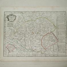 Harta color Regatul Ungariei cu Transilvania, Polonia, Croatia, Turcia Ch. Delamarche Paris 1800