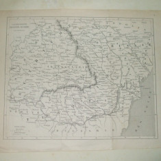 Harta Valahia, Moldova, Transilvania, Basarabia Tarile Romane Paris 1789