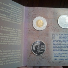 Mihai Eminescu2seturi2000,7medalii din argint 925 la mie,400euro+taxele postale sau avans 400 euro prin Western Union,nu se vand separat,detalii forum