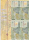 bnk bn Romania 10000 lei 2001 Isarescu , coala de 4 , certificat autenticitate