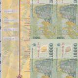 Bnk bn romania 10000 lei 2001 unc, coala de 4 netaiata, certificat autenticitate - Bancnota romaneasca
