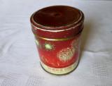 Cutie veche de ceai chinezeasca, din tabla, cutie veche cu reclame, cutie colectie