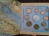 Set 8 monede euro 2005 San Marino Euro+o moneda din argint in interiorul setului