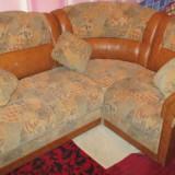 Coltar de living / dormitor din piele ecologica si stofa