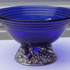 Bol din sticlă cobalt cu baza din răşină argintată - Bol sticla