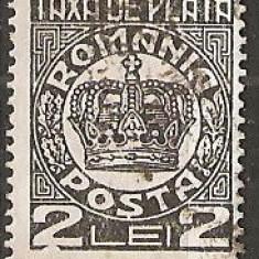 TIMBRE 101h, ROMANIA, 1932/8, TAXA DE PLATA COROANA, 2 LEI, EROARE, CADRU INTRERUPT SUB PRIMUL 2, ERORI, ECV - Timbre Romania, Altele