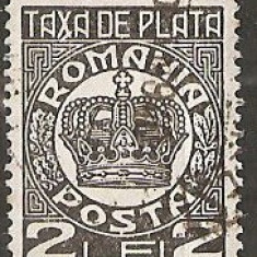 TIMBRE 101f, ROMANIA, 1932/8, TAXA DE PLATA COROANA, 2 LEI, EROARE, TAXA, X LINIE LA BAZA LUI X, ERORI, ECV - Timbre Romania, Altele