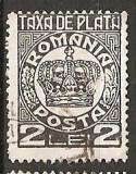 TIMBRE 101g, ROMANIA, 1932/8, TAXA DE PLATA COROANA, 2 LEI, EROARE, PLATA, TA, A SPART, ERORI, ECV