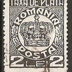 TIMBRE 101g, ROMANIA, 1932/8, TAXA DE PLATA COROANA, 2 LEI, EROARE, PLATA, TA, A SPART, ERORI, ECV - Timbre Romania, Altele