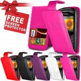 Husa piele roz flip Blackberry 8520 curve, Alt model telefon Vodafone