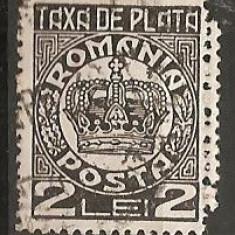 TIMBRE 101r, ROMANIA, 1932/8, TAXA DE PLATE, COROANA, 2 LEI, CURIOZITATE, DANTELURA DUBLA, EROARE, ERORI - Timbre Romania, Altele