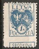 TIMBRE 102e, LITUANIA, LITWA, 1M, CURIOZITATE, PERFORATIE DEPLASATA, EROARE, ERORI, ECV, Altele