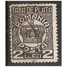 TIMBRE 101t, ROMANIA, 1932/8, TAXA DE PLATE, COROANA, 2 LEI, CURIOZITATE, FRANJURI/IESIRI LA PARTEA DE SUS A CADRULUI, EROARE, ERORI - Timbre Romania, Altele