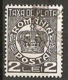 TIMBRE 101e, ROMANIA, 1932/8, TAXA DE PLATA COROANA, 2 LEI, EROARE, TAXA, X LINIE LA BAZA LUI X, ERORI, ECV
