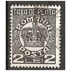TIMBRE 101e, ROMANIA, 1932/8, TAXA DE PLATA COROANA, 2 LEI, EROARE, TAXA, X LINIE LA BAZA LUI X, ERORI, ECV - Timbre Romania, Altele