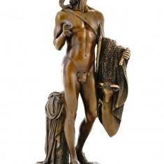 TANAR LUPTATOR- STATUETA DIN BRONZ PE SOCLU DIN MARMURA - sculptura reproducere, Scene lupta