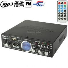 STATIE KARAOKE CU MIXER INCLUS. Stereo Audio Karaoke Power Amplifier with Remote Control, Support SD Card / USB Flash Disk / FM Radio.BONUS MICROFON. - Echipament karaoke