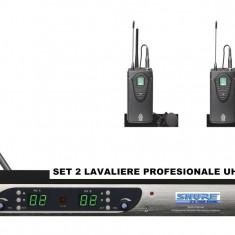 SET 2 MICROFOANE LAVALIERA PROFESIONALE UHF SHURE SLX4+RECEIVER INCLUS. - Microfon