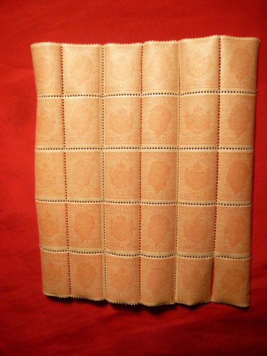 Coala 15 Timbre Fiscale cu matca , 100 lei rosu , Mihai I