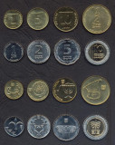 ISRAEL █ SET COMPLET DE MONEDE █ 1, 5, 10 Agorot 1/2, 1, 2, 5, 10 Shequalim UNC