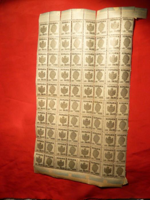 Coala 40 Timbre Fiscale cu matca, 1000 lei verde , Mihai I