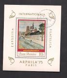 colita-ROMANIA-L.P 875-EXPOZITIA INTERNATIONALA FILATELICA,,ARPHILA'75'' PARIS-stampilata
