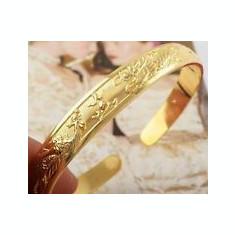 BRATARA DAMA AUR FILAT 9 K CU PASAREA PHOENIX SI DRAGON - Bratara placate cu aur, Femei