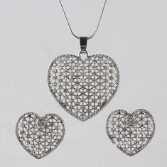SET bijuterii placat/ filat aur alb LANT COLIER+PANDANTIV INIMA+CERCEI - Set bijuterii placate cu aur