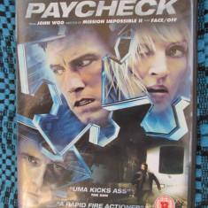 PAYCHECK - film DVD cu Ben AFFLECK si Uma THURMAN (original din Anglia, in stare impecabila!!!) - Film SF, Engleza