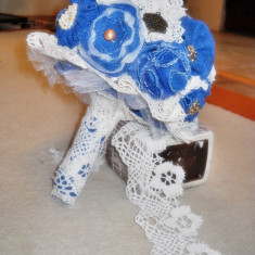 Buchet din Flori Brose - Accesoriu Nunta Mireasa - Artizanat - Handmade : Jeans Fantasy