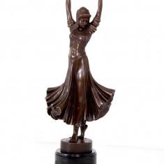 DANSATOARE CHIPARUS- STATUETA DIN BRONZ PE SOCLU DIN MARMURA - sculptura reproducere, Portrete