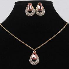 SET bijuterii LANT COLIER PANDANTIV CERCEI filat aur gold filled swarovski - Set Swarovski