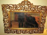 OGLINDA VECHE LEMN MASIV FOITA AUR ORIGINALA CCA.1800-1850, Consola, Louis XIII,XIV, XV, XVI, 1800 - 1899