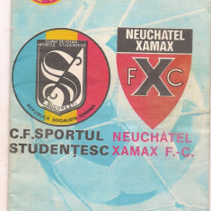 9A (00)-program de fotbal-SPORTUL STUDENTESC -F.C NEUCHATEL XAMAX-uefa 1986