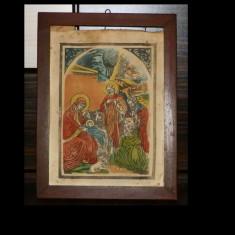 Icoana veche, litografie pe carton - Icoana litografiate