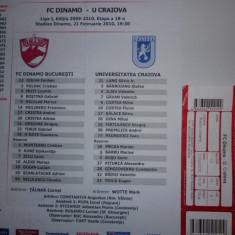 Foaie de meci fotbal + bilet DINAMO BUCURESTI - UNIVERSITATEA CRAIOVA 21.02.2010 - Bilet meci