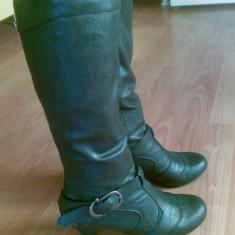 Cizme din piele firma Espirit marimea 38, sunt noi! - Cizma dama Esprit, Culoare: Negru, Piele naturala, Negru