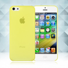 Husa plastic 0, 3 mm Iphone 5C 5 C - Husa Telefon Apple, Galben