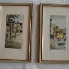 Superbe doua litografii pe carton, semnate si datate 1962 - Litografie