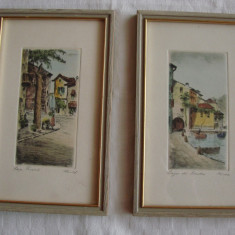 Superbe doua litografii pe carton, semnate si datate 1962