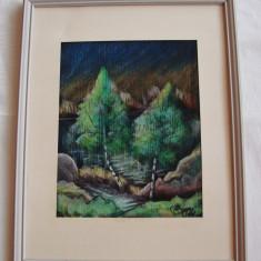 Peisagistica - pastel pe carton, lucrare semnata si datata 1961 - Pictor roman, Peisaje, Altul