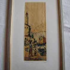 Superba grafica pe papirus, semnata - Tablou autor neidentificat